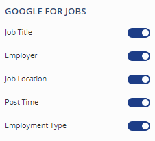 Google Jobs settings