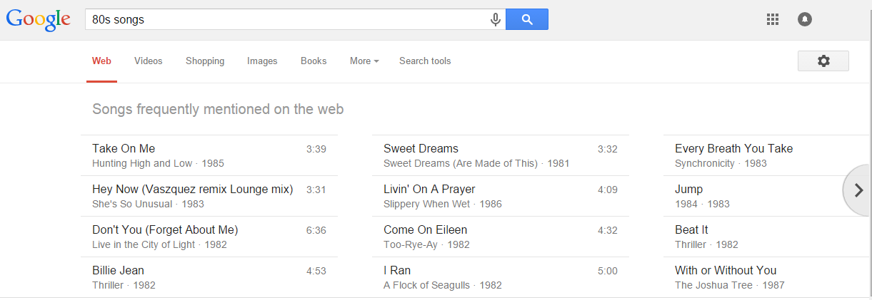SERP features Carousel song list