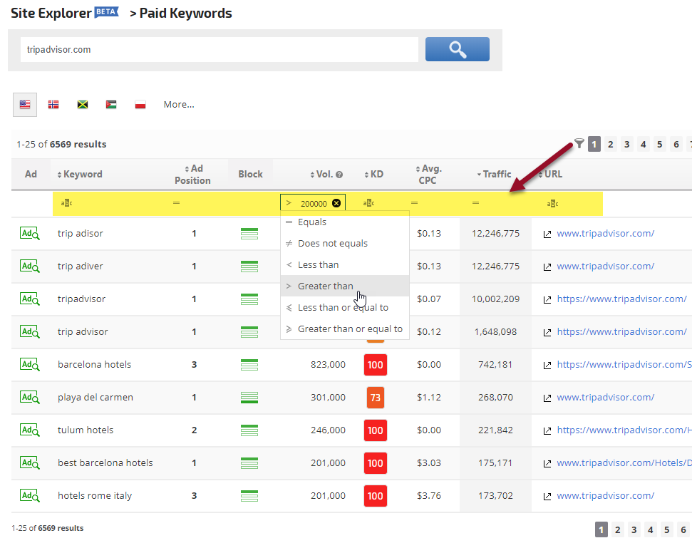 Site Explorer Paid Keywords report filters