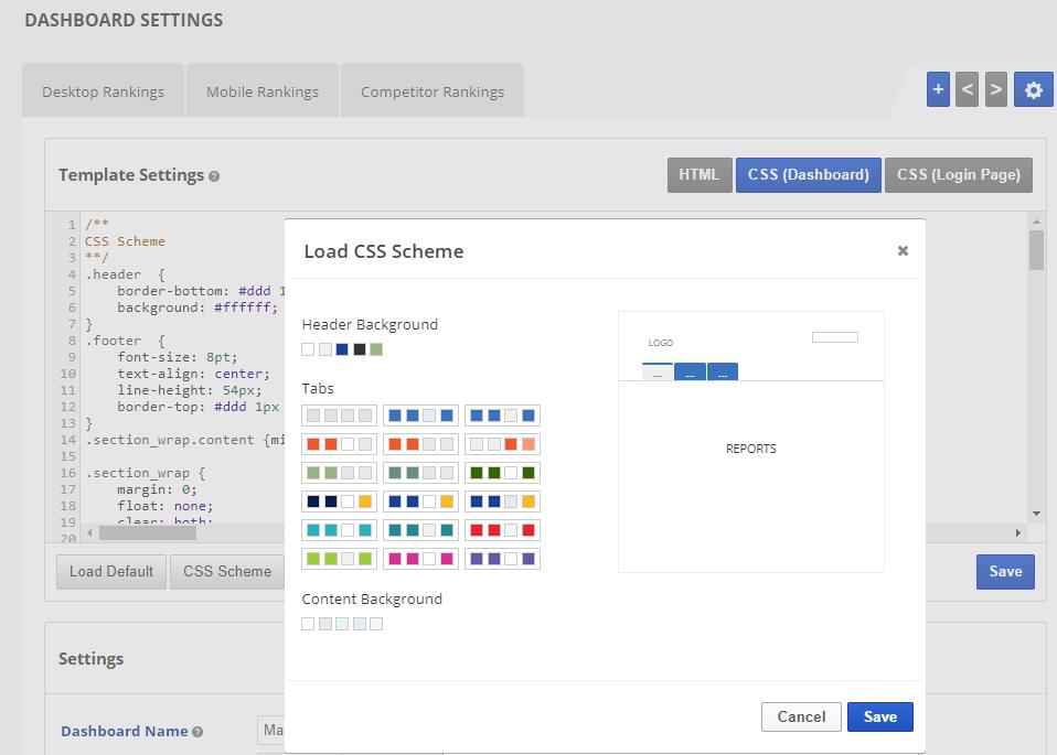 CSS schemes built into marketing dashboard