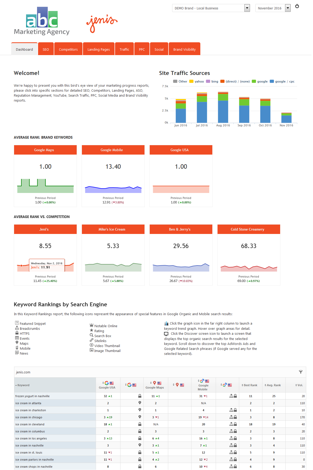 Marketing dashboard template library rank ranger marketing dashboard local business template cheaphphosting Image collections