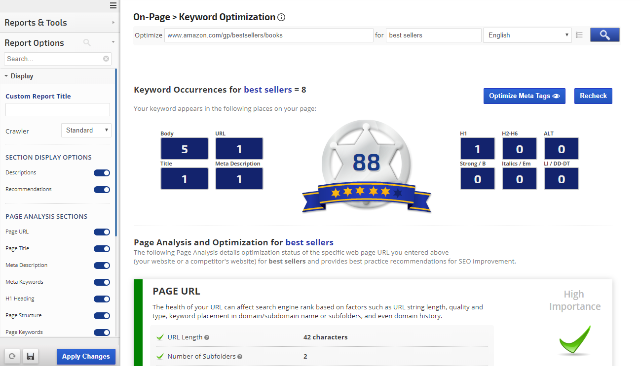 On-Page Keyword Optimization Tool