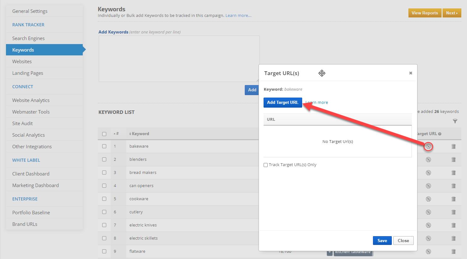 manually add Target URLs to keywords