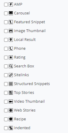 SERP indicator icons