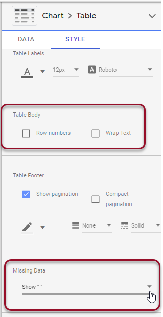 chart and table style settings