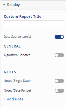 Analytics display settings
