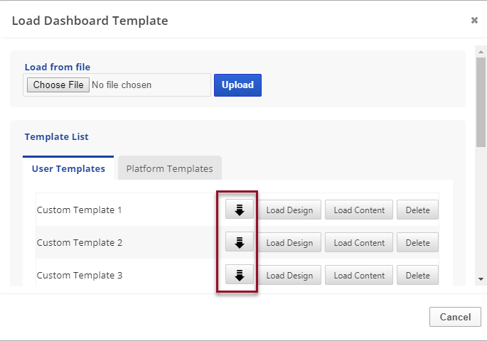 download a user dashboard template