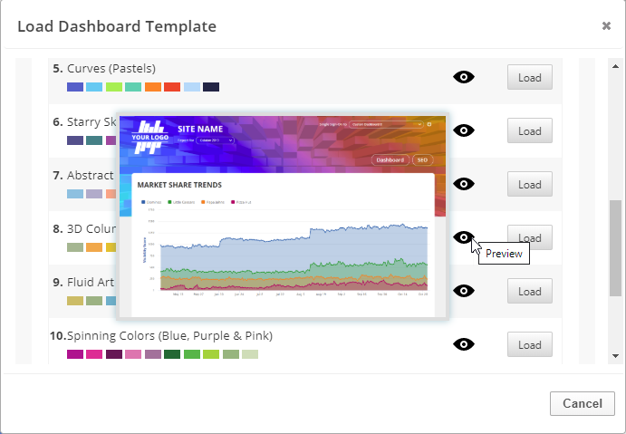 Preview dashboard template
