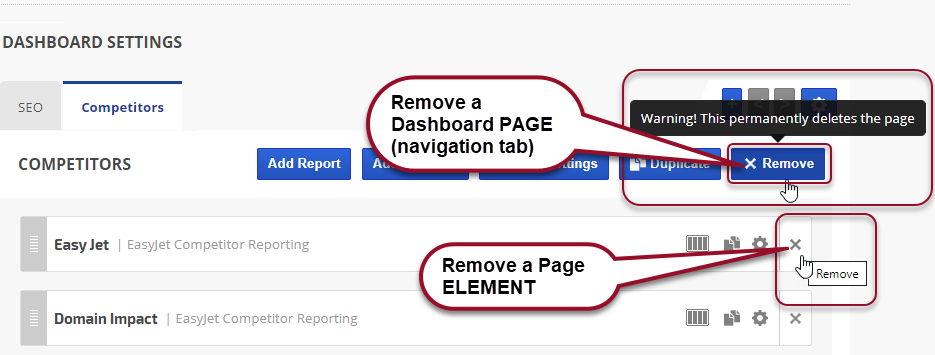 remove marketing dashboard page or element