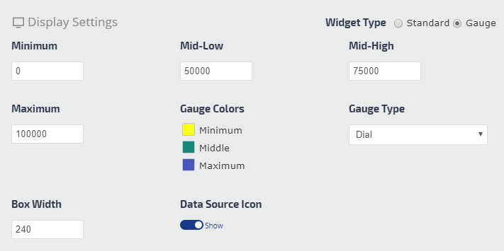 display settings for sample widget