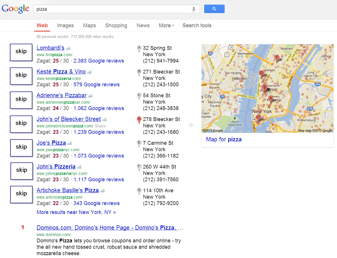 Google Places normal mode
