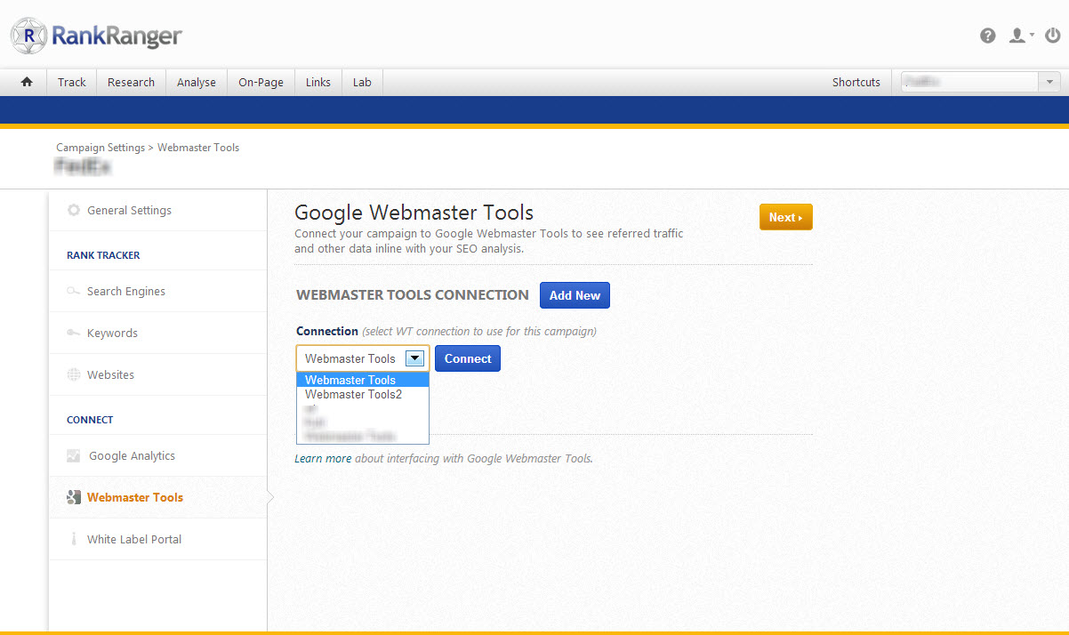 Connect Google Webmaster Tools to SEO Campaign