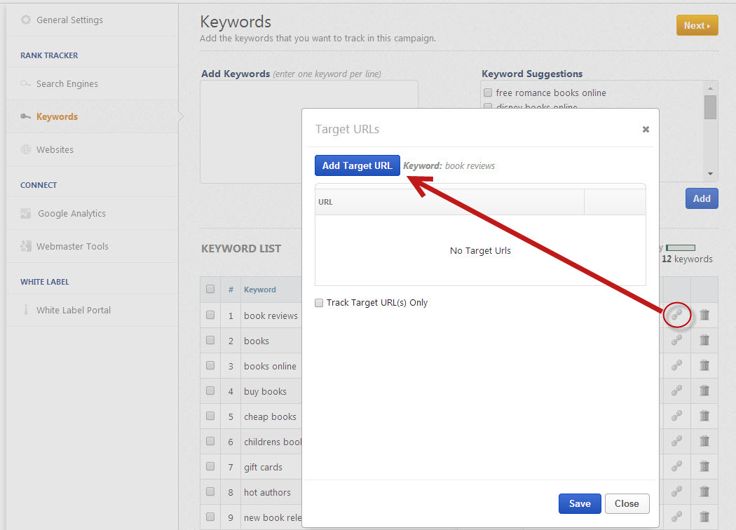 manually add Target URLs to keywords