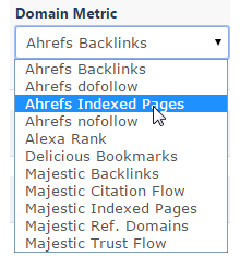 Select a domain backlink metric