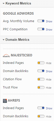 Add Keyword and Domain Metrics