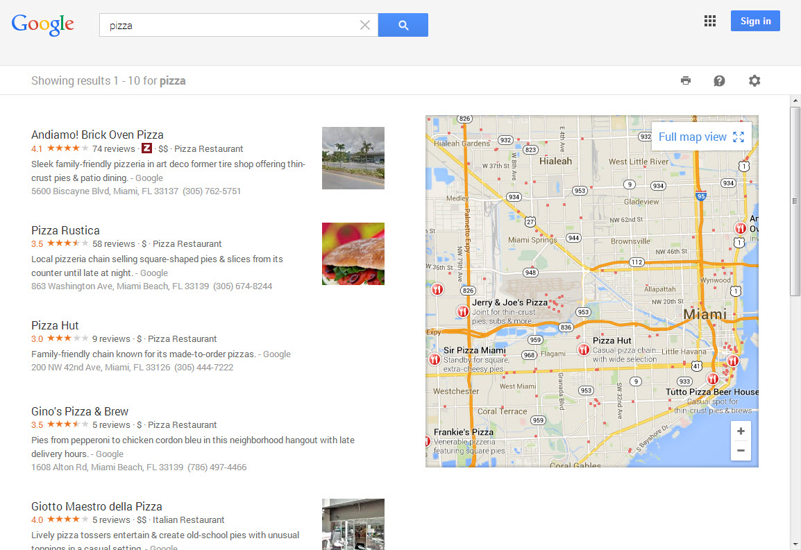 New Google My Business Local Layout on
