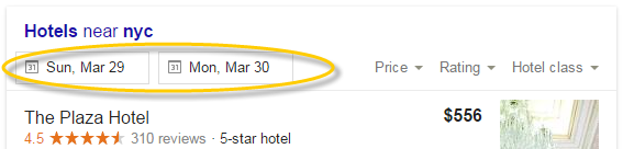 New Maps SERP Result for Hotels