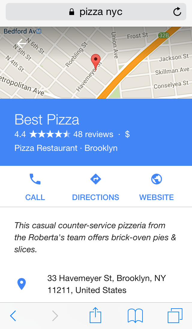 Mobile SERP for new Maps layout