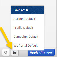 Report Default Options Save
