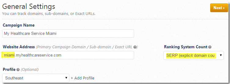 Sub-Domain rank tracking
