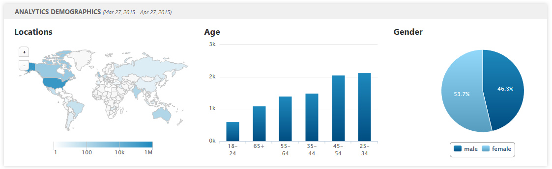 Analytics Audience Demographics widget